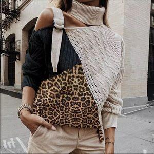 ⬇️Leopard Patchwork Cold Shoulder Turtleneck Knit